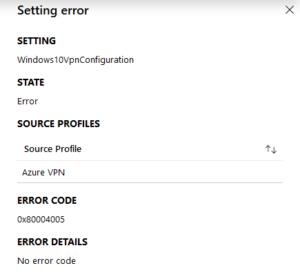 intune error 0x80004005 in vpn