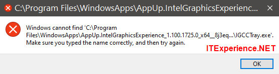 windows cannot find intelgraphicsexperience
