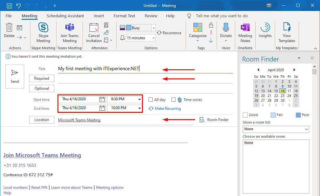 create teams meeting in outlook 2
