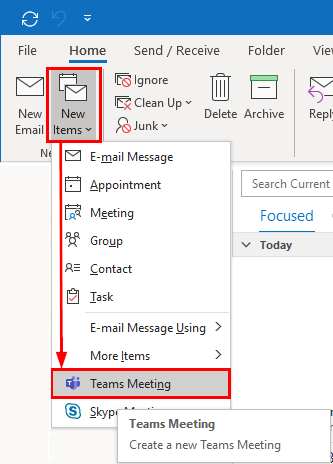 create teams meeting in outlook