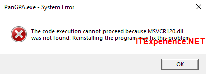 pangpa The code execution cannot proceed because MSVCR120.dll was not found. Reinstalling the program may fix this problem.