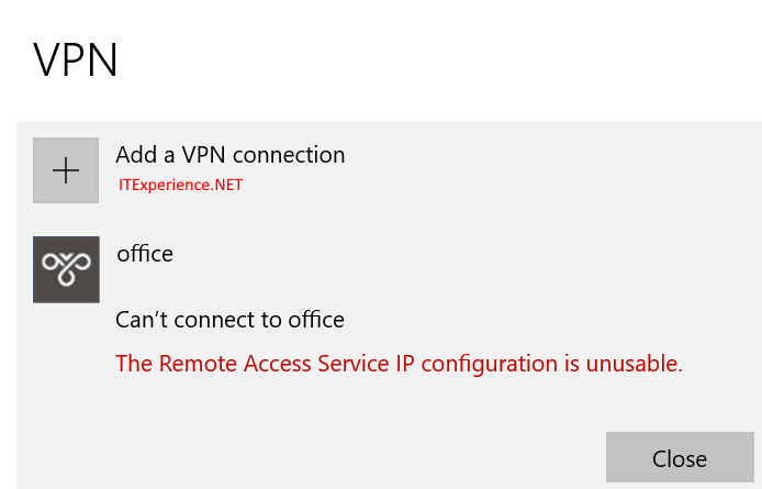 vpn remote access service ip configuration is unusable
