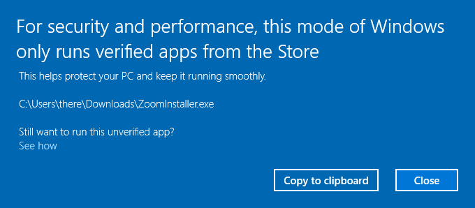 zoominstaller.exe blocked windows s unverified app for security and performance