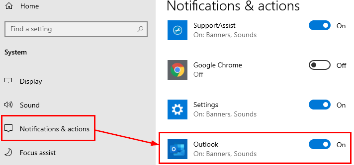 Outlook banners and sounds on