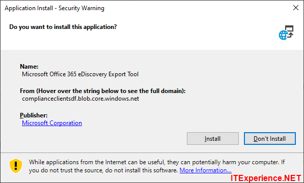 application install security warning clickonce
