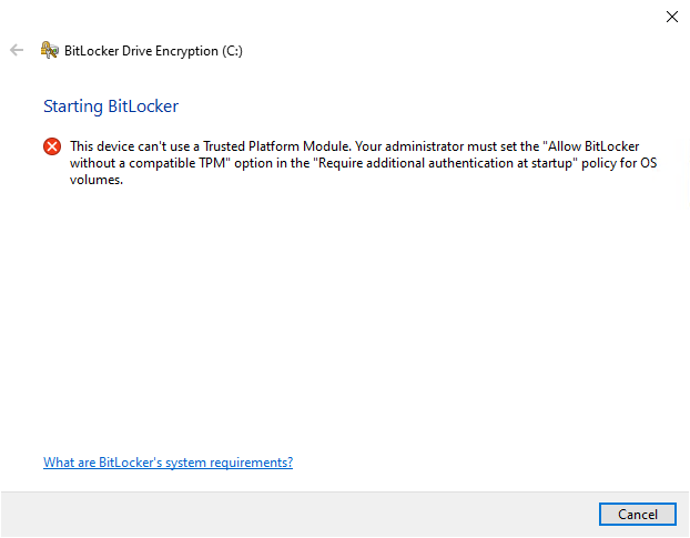 bitlocker use a Trusted Platform Module