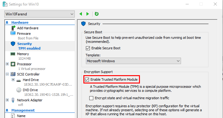 enable Trusted Platform Module TPM in VM settings