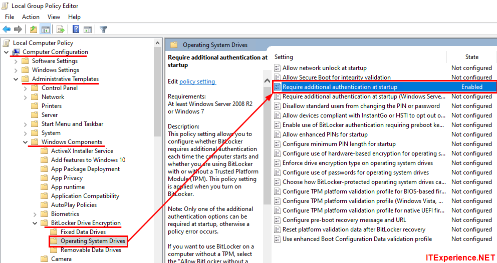 local group policy editor navigate to bitlocker require additional authenitcation