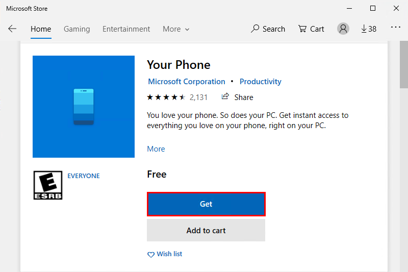 Install Your Phone from the Microsoft Store