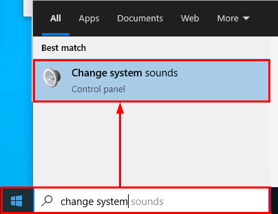 open change system sounds in Windows 10