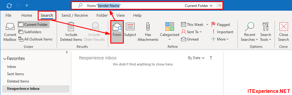 Fix for search ribbon missing in Outlook 2