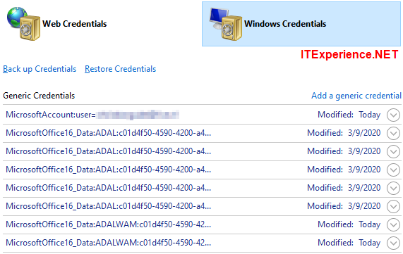 windows credentials microsoftoffice16 data adal