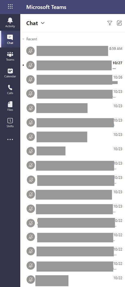 delete conversations in teams chat list