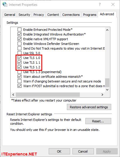 internet options tls