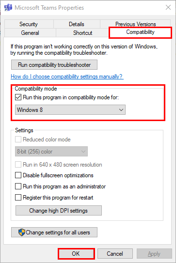 run microsoft teams in compatibiliy mode windows 8