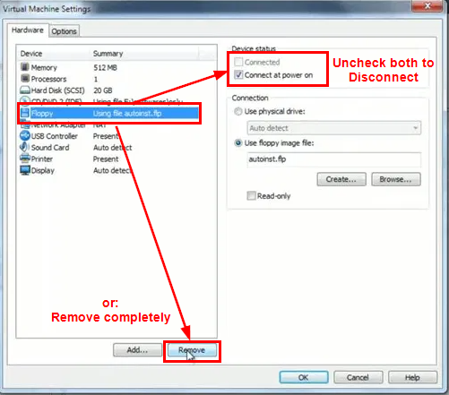 remove disconnect floppy drive vmware