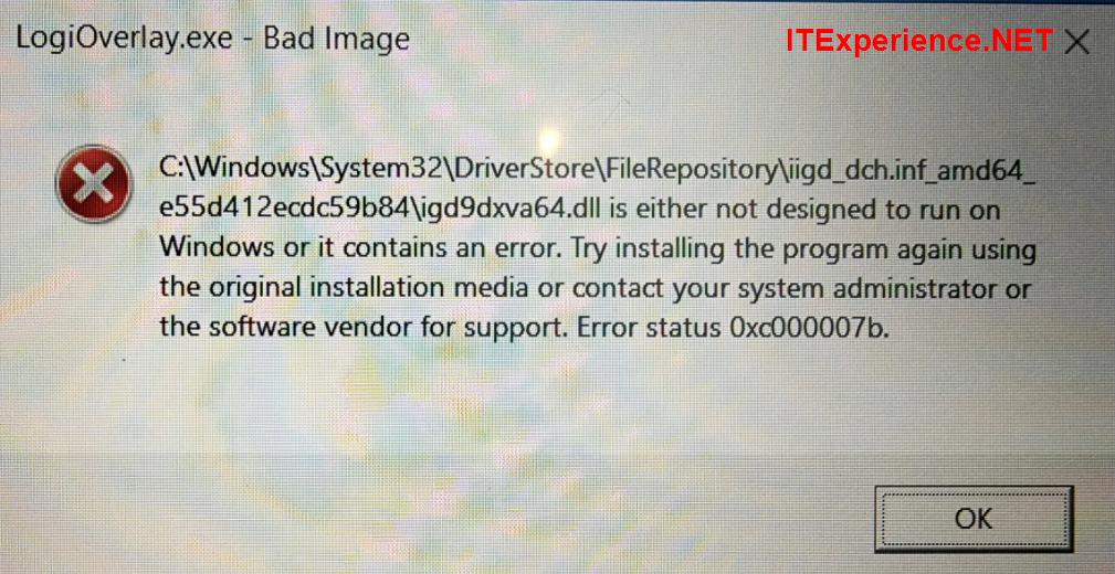 logioverlay.exe bad image igd9dxva64.dll