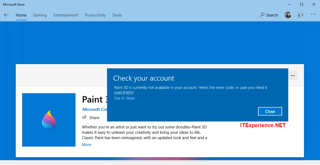 0x803F8001 Paint 3D is Currently Not Available in your account