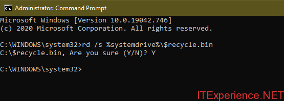 empty recycle.bin from command prompt