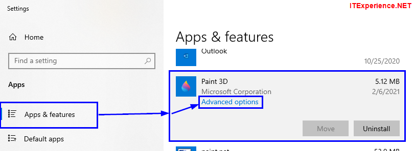 paint 3d advanced options apps and features