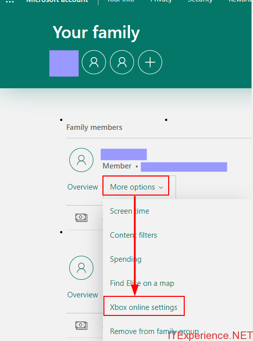 xbox online settings for family members