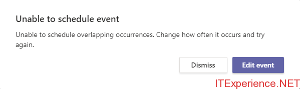 Unable to schedule event in Microsoft Teams