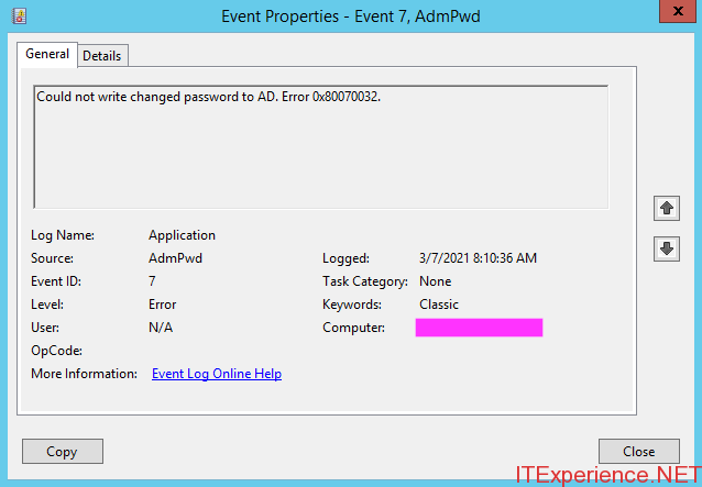 event 7 AdmPwd changed password AD 0x80070032