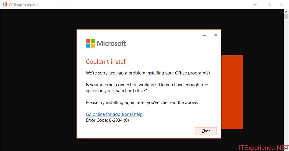 install ODT error 0-2034
