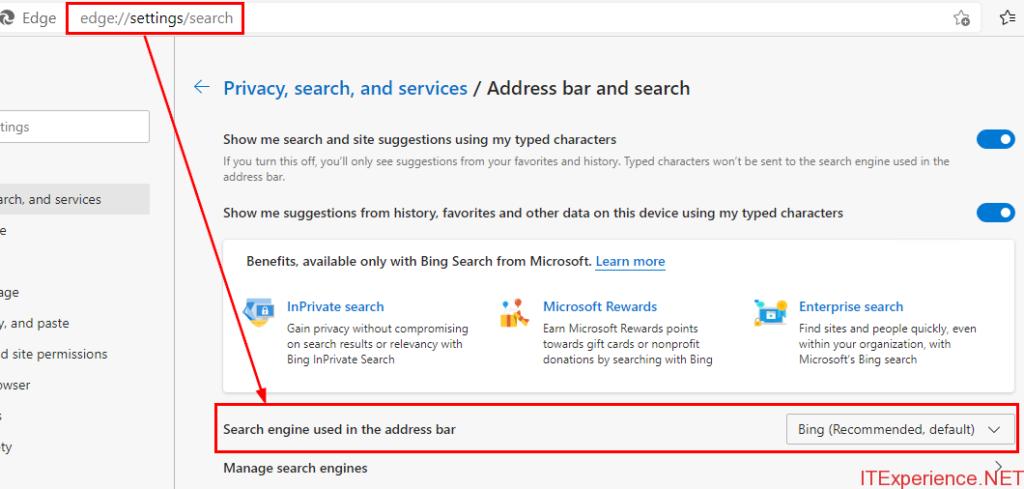 default search engine Edge 90 windows 10 20h2