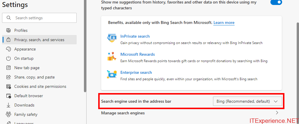 edge search engine used in the address bar