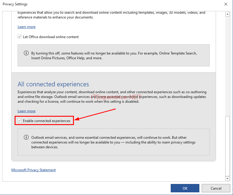 office 2019 disable connected experiences