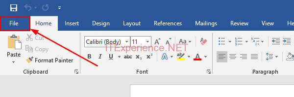 word 2019 click file