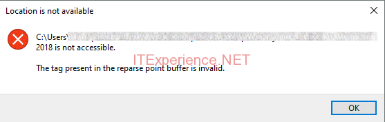 onedrive the tag present in the reparse point bugger is invalid