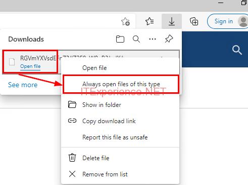 Always open files of this type Edge